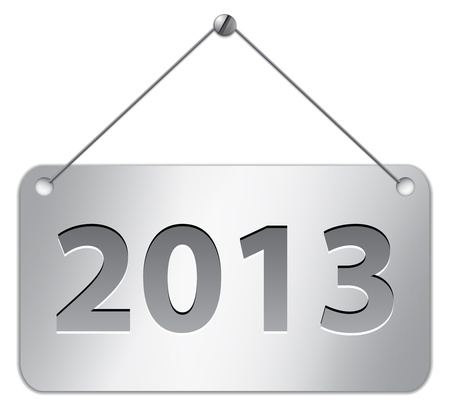 Metallic gray tablet for 2013 year hanging on the wall. Vector illustration Vector