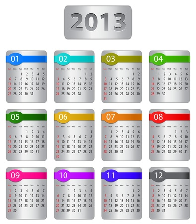 Calendar for 2013 year with colorful stickers. Vector illustration