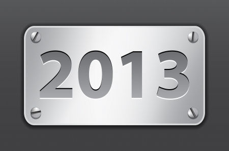 Metallic gray tablet for 2013 year. Vector illustration Vector