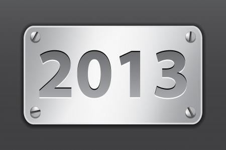 Metallic gray tablet for 2013 year. Vector illustration Vector