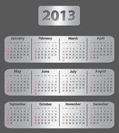Gray metallic calendar for 2013 year. Vector illustration Vector