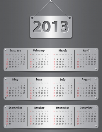 Calendar for 2013 year with attached metallic tablets. Vector illustration