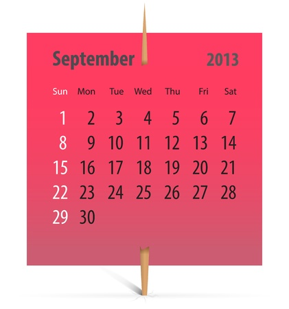 Calendar for September 2013 on a red sticker attached with toothpick. Vector illustration