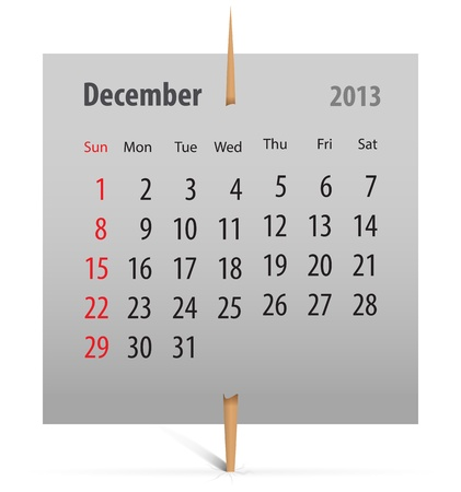Calendar for December 2013 on a gray sticker attached with toothpick. Vector illustration Vector
