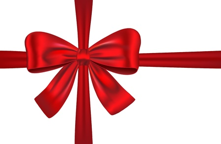 red ribbon: Red ribbon with bow for gifts, cards and decorations. Vector illustration