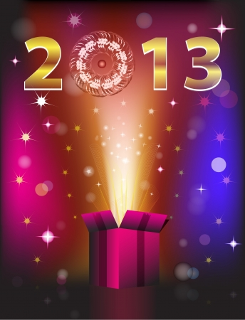 miracle: Magic colorful gift card with miracle and New Year 2013. Vector illustration Illustration