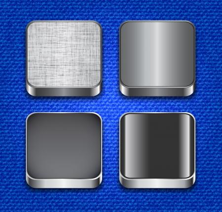 plastic texture: Blank apps icon templates on denim texture Illustration