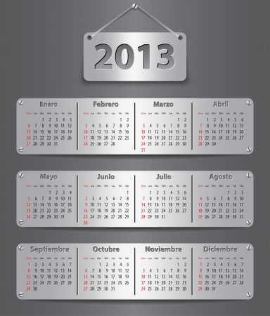 Spanish calendar for 2013 with attached metallic tablets.  Vector
