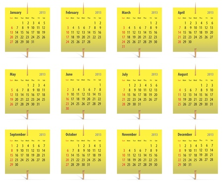 Calendar for 2013 on yellow stickers attached with toothpicks. Vector illustration Vector