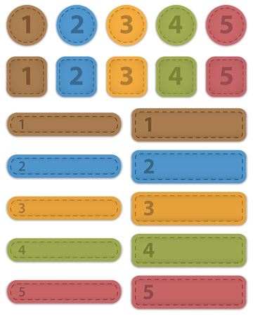 Numbered design templates made of leather.