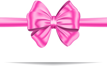 Pink ribbon with gorgeous bow. Gift card. Vector illustration