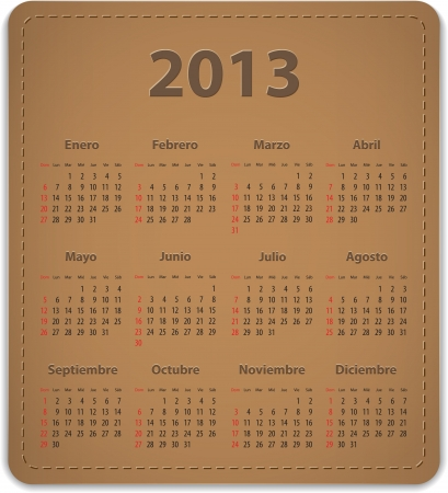Calendar for 2013 year on brown leather background in Spanish Stock Vector - 15679987