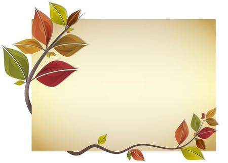 arboles secos: Tarjeta adornada con ramas de hojas de otoño coloridas