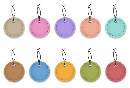 Colorful leather labels like Christmas balls  illustration Illustration