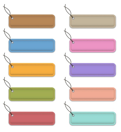 Colorful labels made of leather illustration Vector