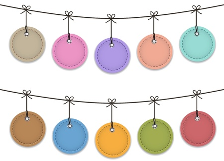 Colorful leather labels hanging like Christmas baubles illustration Vector