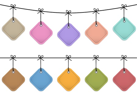 Colorful hanging leather labels. Design templates illustration Vector
