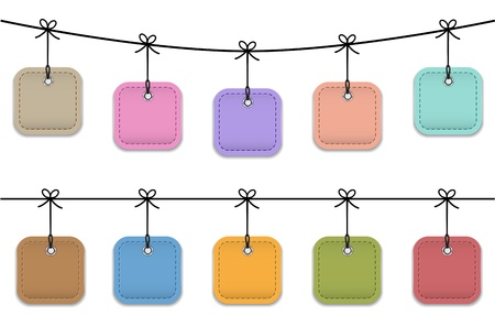 hanging string: Colorful blank price tag icons. Leather labels.