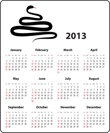 Calendar for 2013 year in English and a snake in the shape of Christmas tree Stock Vector - 16096539