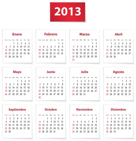 Red calendar for 2013 year in Spanish