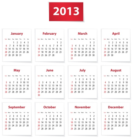 Red calendar for 2013 year in English. Ilustração