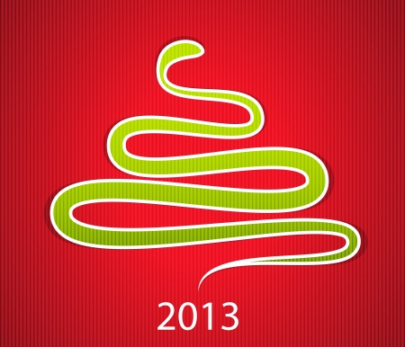 2013 new year gift card with green snake like Christmas tree. Vector illustration Vector