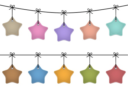 rounded: Hanging star labels made of leather. Price tags for commerce.