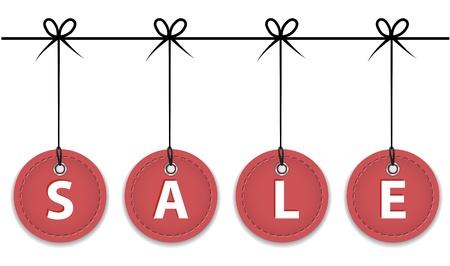 Christmas red sale labels hanging like Christmas balls.