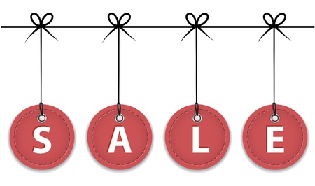 Christmas red sale labels hanging like Christmas balls.  Vector