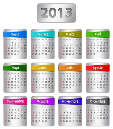 Calendar for 2013 year in Spanish with colorful stickers.