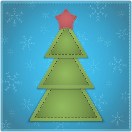 New Year background with Christmas tree and star made of leather. Vector illustration  Vector
