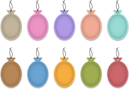 Colorful blank leather labels in the shape of balloons. Price tags. Vector illustration
