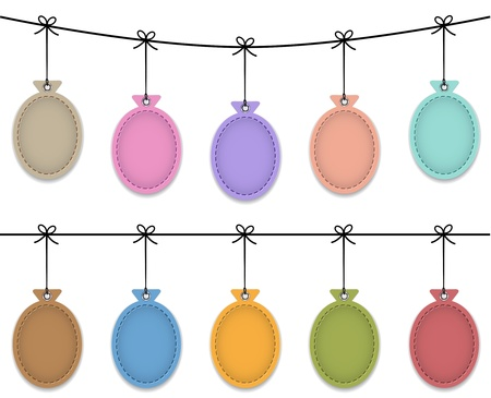 hang tag: Balloon leather labels hanging like Christmas baubles. Vector illustration