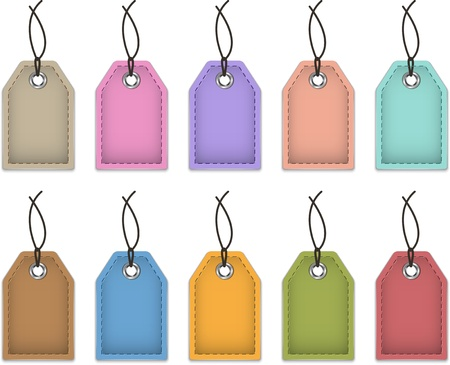 Blank colorful price tags made of leather  Labels for shopping  Vector illustration Çizim