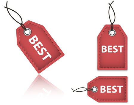 Red price tags with the word Best  Shopping labels made of leather  Vector illustration Vector