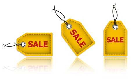 Yellow price tags made of leather and with the word sale  Labels for shopping  Vector illustration Vector