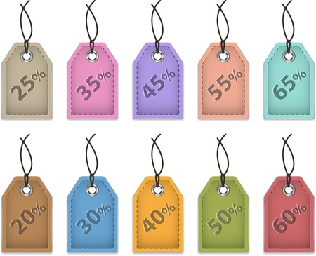 Colorful price tags for sale  Shopping labels made of leather  Vector Stock Vector - 16453800