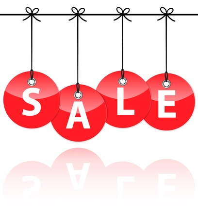 sale tags: Red glossy icons with the word sale hanging like Christmas baubles. Vector Illustration