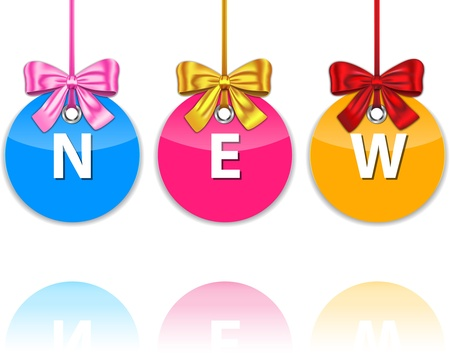 Colorful glossy icons tied with bow and with the word new. Holiday labels for commerce. Vector Vector