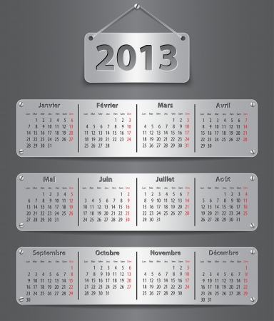 Calendar for 2013 year in French with attached metallic tablets. Vector illustration Illustration