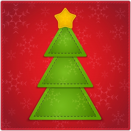 New Year background with Christmas tree and star made of leather. Vector illustration Stock Vector - 16504112