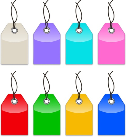 Glossy colorful price tags. Shopping labels. Vector illustration Illustration
