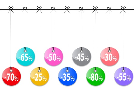 Glossy sale tags. Shopping labels. Vector illustration Illustration