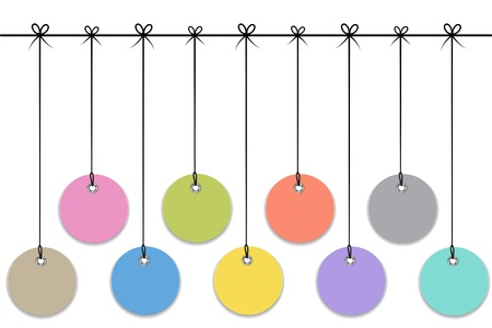 Blank colorful labels hanging like Christmas baubles. Vector illustration