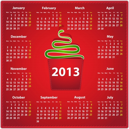 Red calendar for 2013 year in English on leather background with a snake in a pocket.   Vector