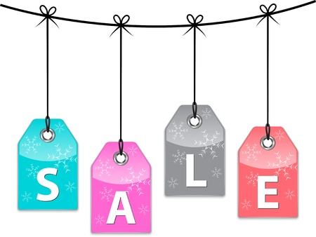 Christmas sale colorful labels with snowflakes. Price tags.