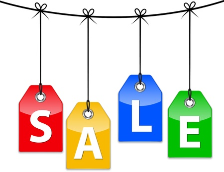 sign store: Colorful glossy sale icons. Shopping labels tied with bows. Vector illustration