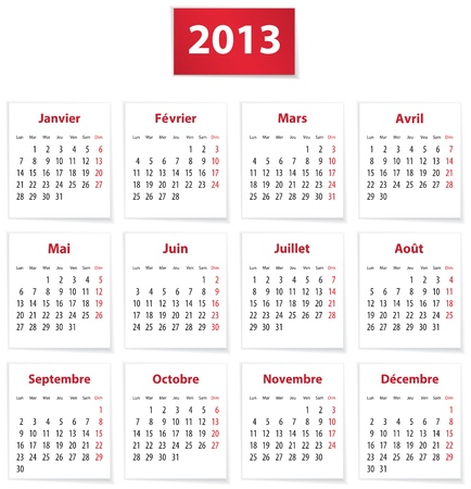 Calendar for 2013 year in French on white paper. Vector illustration Stock Vector - 16708132
