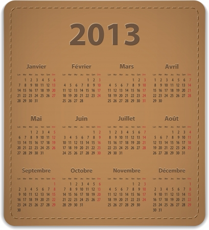 calendrier: Calendar for 2013 year in French on leather background. Vector illustration