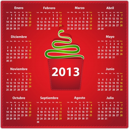 Calendar for 2013 year in Spanish on red leather background and a snake in a pocket. Vector illustration Vector